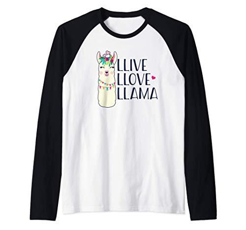 LLIVE LLOVE LLAMA Llamas divertidas Meme Camiseta Manga Raglan