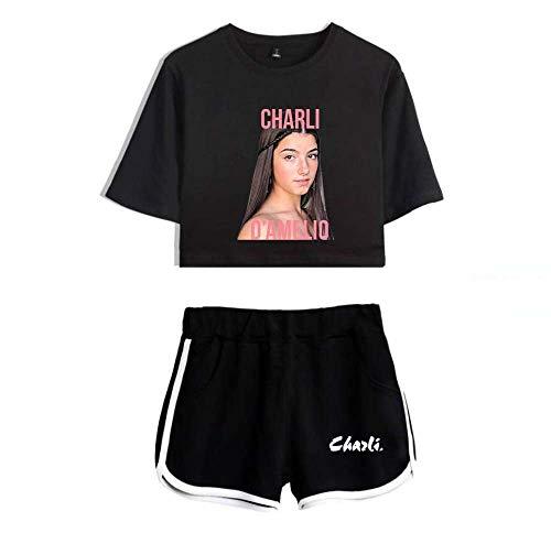 LYJNBB Charli D'Amelio T-Shirts, Shorts Anzug für Frauen, kurzen Hülsen-Pullover Tee, Crewneck XS-XXL, Best Friend Set Kleidung,Black2,S