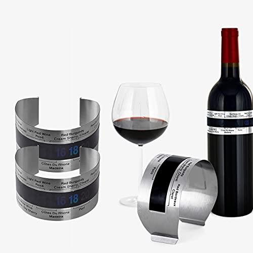 Tianyis 3 Piezas Termómetro para Vino, Termómetro LCD para Vino Botella de Acero Inoxidable, Cerveza Vino Tinto Pulsera Sensor de Temperatura,Sensor de la Pulsera de la Temperatura de la Cerveza