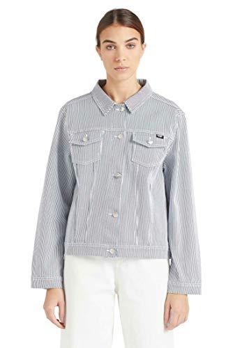 khujo Damen Jacke Rhea Denim Streifen Blau Weiß Jeans Knopfleiste Brusttaschen