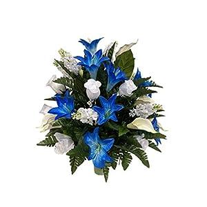 White and Blue Cemetery Flower Arrangement, Headstone Vase Insert, Grave, Cone Insert, Tombstone vase Arrangement, Cemetery Flowers CC4210