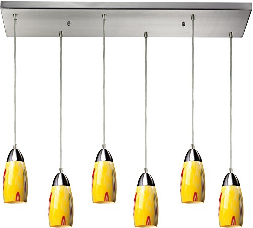 Elk 110-6RC-YW Milan 6-Light Pendant with Yellow Blaze Glass Shade, 30 by 9-Inch, Satin Nickel Finish