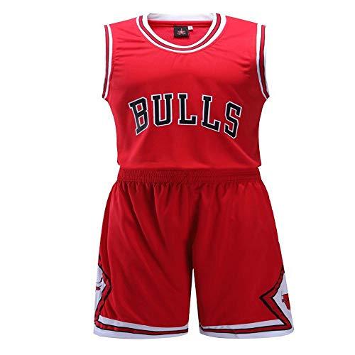 DDSC Baloncesto Uniformes Camiseta de toros, Impresa y Personalizada Sudadera Transpirable Camiseta Deportiva de Verano -Ropa De Jersey Red-Small
