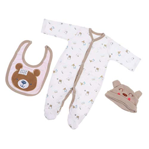 OMJDOLL Reborn Baby Doll Clothes Boys for 20-23 Inch Newborn Doll Jumpsuits 3 Piece Sets Clothing Bear Patterns