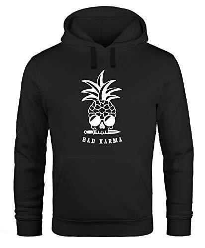 Neverless® Hoodie Herren Totenkopf Ananas Schriftzug Bad Karma Kapuzen-Pullover Männer Fashion Streetstyle schwarz M