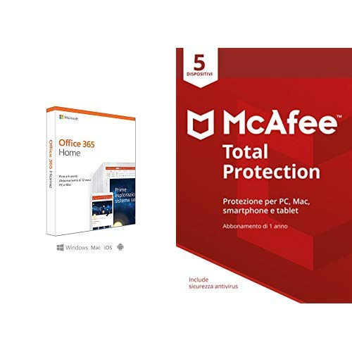 Microsoft Office 365 Home + McAfee Total Protection con 5 Dispositivi