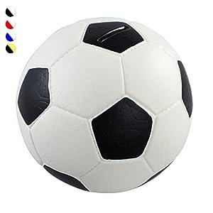 HMF 4790-01 Spardose Fußball Lederoptik 15 cm Durchmesser, schwarz weiß