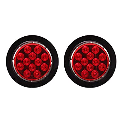 """CZC AUTO 4"""" Round LED Trailer Stop Tail Turn running Light With Grommet And Plug"""