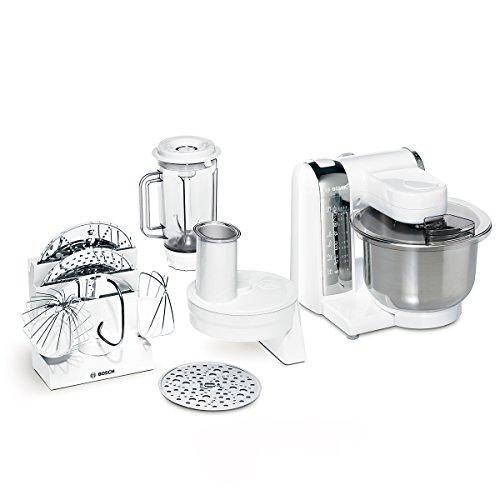 Bosch MUM48CR1 keukenmachine MUM4 (600 watt, 3,9 liter, roestvrijstalen mengkom, doorloopsnijder, grove wrijvingsschijf, mixer-opzetstuk, recept DVD) wit