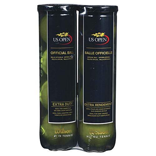 Wilson US Open Pelotas de tenis, 2 tubos con 4 pelotas cada uno, para superficies duras, amarillo