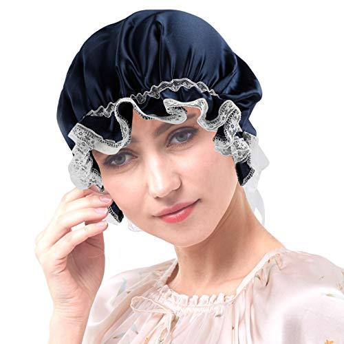 VINTONEY シルク ナイトキャップ ヘアキャップ ロングヘア リボン付き サイズ調節可能 就寝用 睡眠改善 保...
