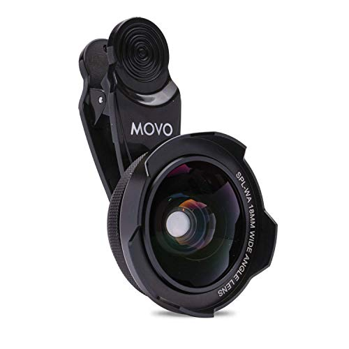 Movo SPL-WA 18mm Wide Angle Lens with Universal Clip Mount - Wide Angle Lens for iPhone, Android Smartphone, and Tablets - Cell Phone Camera Lens Kit with iPhone Wide Angle Lens for Panoramic Photos