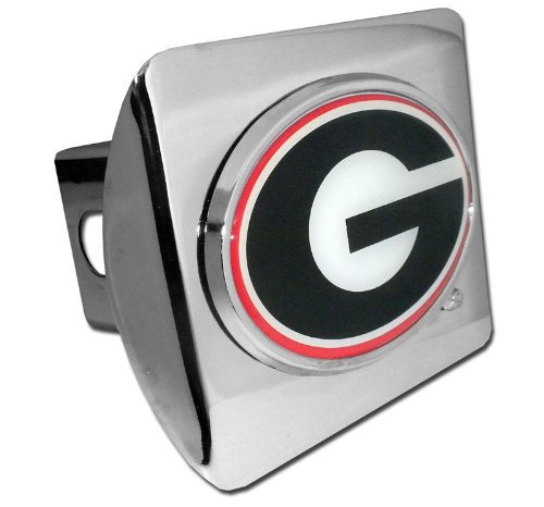 Elektroplate Georgia Bulldogs Polished Chrome Color Emblem Metal NCAA Trailer Hitch Cover Fits 2 Inch Auto Car Truck Receiver