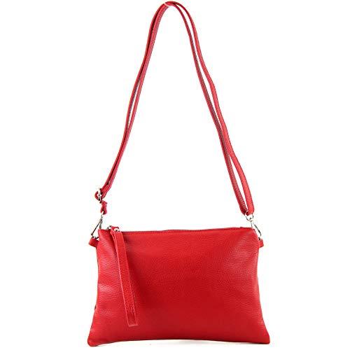 modamoda de - T186 - ital. Clutch Umhängetasche Leder Medium, Farbe:Rot