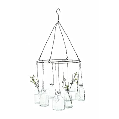 Creative Co-Op DA0239 Hanging Glass Vases with Crystals