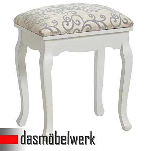 dasmöbelwerk Hocker FLORAL weiß Polsterhocker Sitzhocker antik Landhaus barock 01.153.01