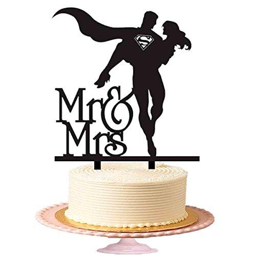 """Hochzeitstorten-Topper mit Schriftzug """"Mr & Mrs"""" und einem Superman in einem fliegendem Umhang,..."""