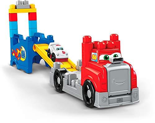 Mega Bloks FVJ01 - Fast Tracks Rennwagen-Transporter, mit Geräuschen, 15 Teile