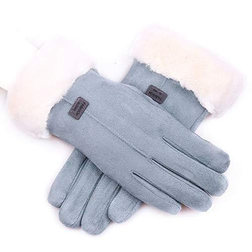 TOOGOO Herbst und Winter Wild Leder Handschuhe Damen Warm Press Bildschirm Behaart Handschuhe Reiten Plus Velvet Thick Handschuhe Damen Blau