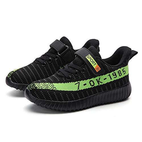 Goalsse Unisex-Kinder Sportschuhe Atmungsaktiv Laufschuhe Outdoor Turnschuhe Freizeit Schuhe Klettverschluss Sneaker für Kinder, Jungen (30 EU, Grün)