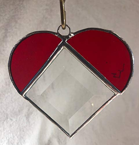 Large discharge sale Stained Glass Red Heart Bevel with Animer and price revision 2