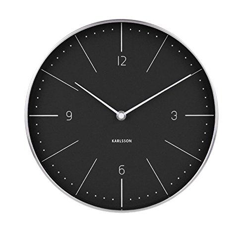 Karlsson Normann Uhr, Wanduhr, Stahl, Schwarz, One Size