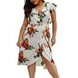 Women Plus Size Sundresses Bxzhiri Summer Sexy Short Sleeve V-Neck Mini Floral Dress White