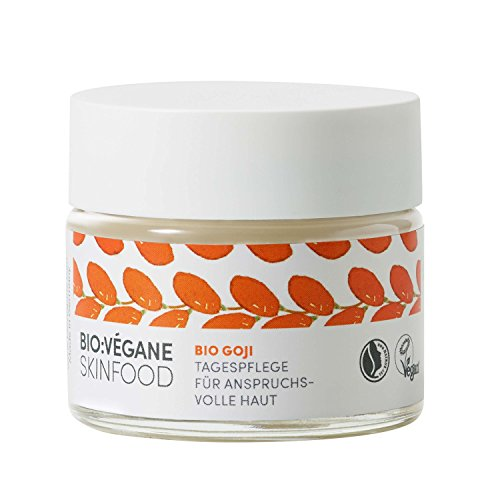 BIO:VÉGANE SKINFOOD Bio Goji -Tagespflege für anspruchsvolle Haut, vegan, NATRUE-zertifiziert, Anti-Aging, Naturkosmetik mit Arganöl, 1er Pack (1 x 50 ml)
