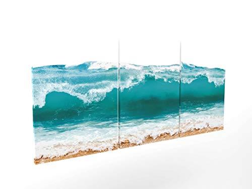 Panorama Composición Cuadro Lienzo Aguamarina en 3 Piezas 210x100cm - Impreso en Lienzo Bastidor de Madera - Cuadros Grandes XXL - Cuadros 3 Piezas - Cuadros Modernos