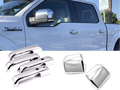 eLoveQ Chrome Plated Top Half Non-Towing Mirror + 4 Handle w/Smart Keyless Covers Compatible with 2015-2020 Ford F-150