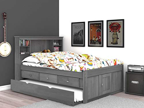 Discovery World Furniture Charcoal Full Bookcase Bed with 3 Drawers and Trundle