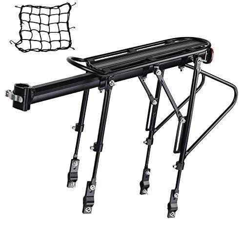 IYQOL Mountainbike Gepäckträger, Einstellbare Träger Fahrrad Gepäckträger, Maximalbelastung 120kg, Aluminiumlegierung, Schnellverschluss und Montage, mit Reflektor Aufbewahrungsnetzbeutel