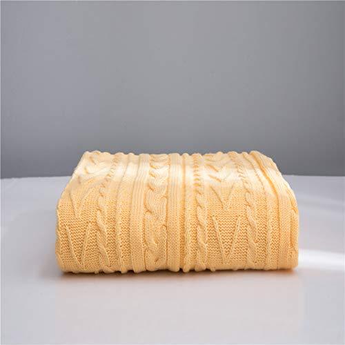 Literie Throw en peluche en microfibre Tissu léger et doux Réchauffez Couverture Canapé Canapé,Jaune,130x160cm