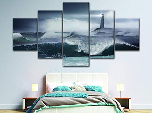 GSDFSD 5 Piece Canvas Wall Art Modern 5 Pieces Lighthouse landscape Canvas Home Deco Art Wall Print Modular Picture,Children's Room Printed Wall Canvas Deco 200X100 Cm