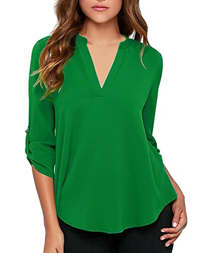 roswear Women's Casual V Neck Cuffed Sleeves Solid Chiffon Blouse Top Green L