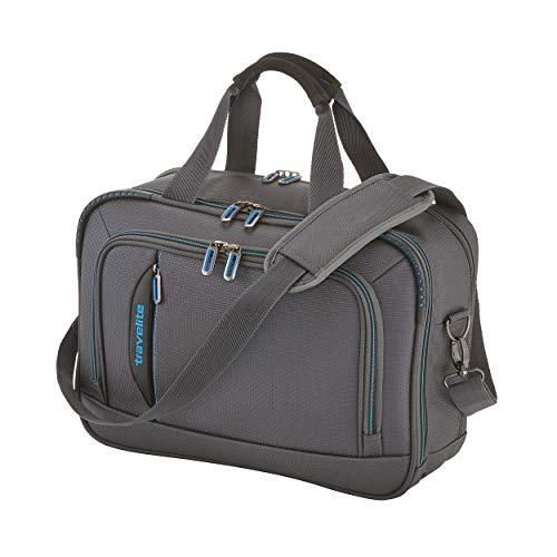 travelite Handgepäck Bordtasche mit Laptopfach + Aufsteckfunktion, Gepäck Serie CROSSLITE: Robuste Weichgepäck Reisetasche im Business Look, 089504-04, 42 cm, 21 Liter, anthrazit