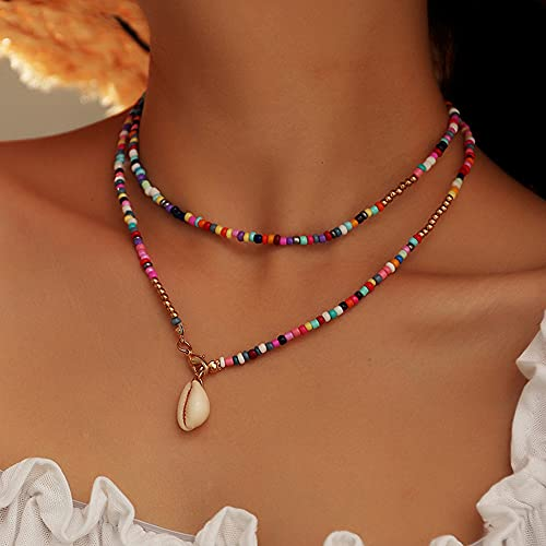 JAWSEU Collar de cáscara de Cuentas de Arroz de Colores a La Moda para Mujer, Collar Gargantilla de Cuentas Boho de Colores Joyería de Cadena para Mujeres Y Niñas 82.2cm