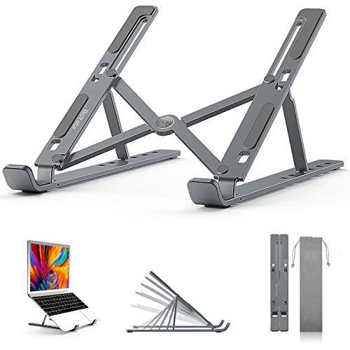 """BoYata Laptop Stand, 6 Levels of Height Adjustable Portable Laptop Holder for Desk, Aluminum Foldable Laptop Riser, Compatible with MacBook Air/Pro, Dell, HP, Lenovo, Most 10-15.6"""" Laptops"""