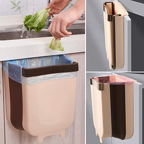Yeswell Cubo de basura plegable para colgar en la puerta del armario, para el coche, la oficina, el cuarto de baño (grande)