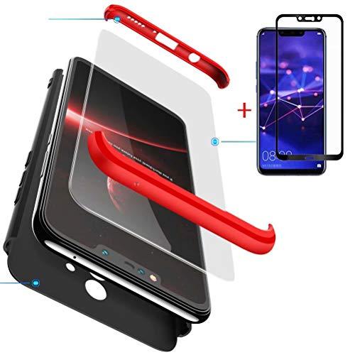 FGXG Compatible para Funda Huawei Mate 20 Lite Caso + [1 * Vidrio Templado] 360 Grados PC Cáscara de protección ,Resistente al Polvo y al Rayado Case (Rojo+Negro)