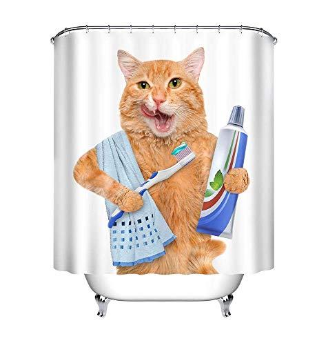 LB Duschvorhang für Katzen, Zahnpasta Zahnbürste Handtuch Weißer Hintergrund Badevorhänge 180x200 cm, Anti-Schimmel Wasserdicht Polyester Fabrik Wohnaccessoires mit Haken