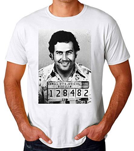 Wicked Design Pablo Escobar Mug Shot Camiseta para Hombres
