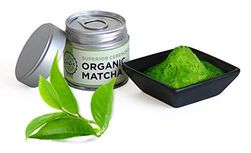 Leafix Matcha Green Tea Powder: Best Japanese Premium Grade Macha Tea | Usda Organic | Superior Quality | Great For Smoothies, Latte, Cooking and Baking | Kosher (Ceremonial, 30 Gram)