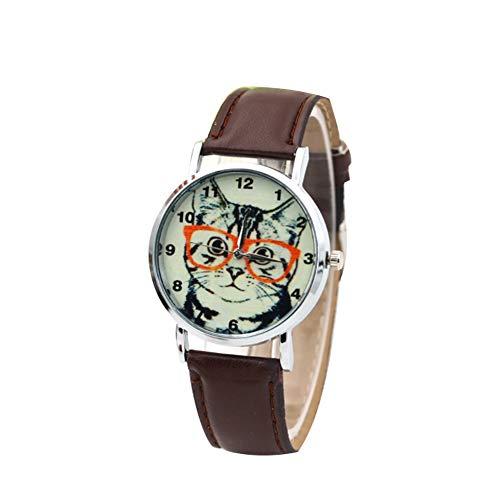 Armbanduhr, Quarz, analog, Katze, lässige Armbanduhr, modisch, für Herren und Damen, ultradünn, Armband aus PU (Dunkles Kaffee)