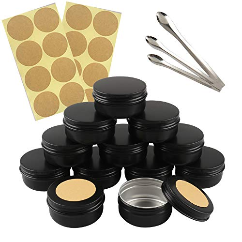 FBJIE 24 Pcs 50ml Black Aluminum Tin Jars with Screw Lids, Empty Round Cosmetics Lip Balm Containers Pots for DIY Candle, Salve Powder, Crafts, Storage Cans with 3X Alu Spoon, 24x Ø 4cm Labels