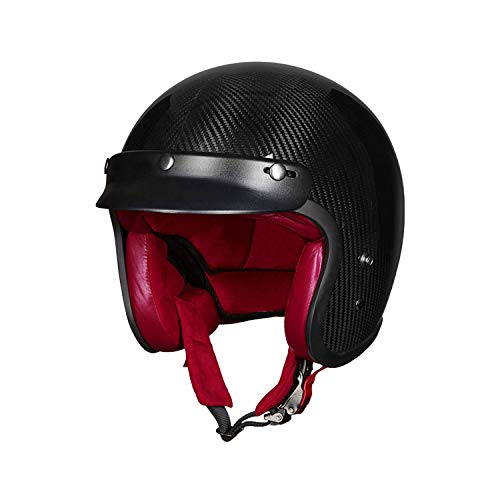 Youth Retro Motorcycle Harley Helmet Carbon Fiber Leather Lightweight Best DOT ECE Certification Personality Half Helmet Modular Sun Visor Opening Decal Motorcycle Bicycle Black Helmet,XL
