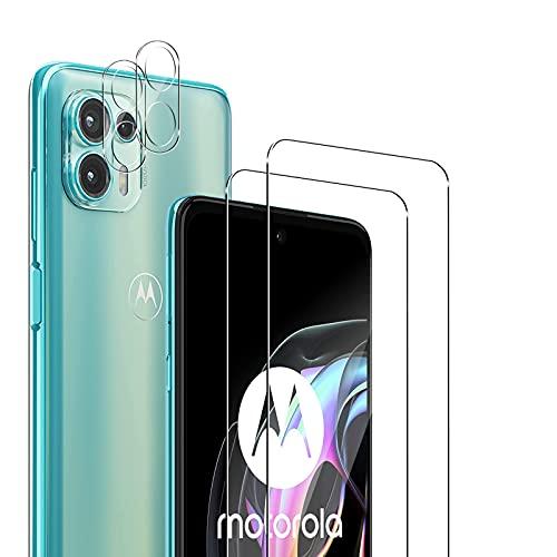 TUTUO [2+2 Stück] Schutzfolie Kompatibel mit Motorola Moto Edge 20 Lite 5G Panzerglas + Kamera Panzerglasfolie, Blasenfrei, Anti-Kratzer, 9H Festigkeit Bildschirmschutzfolie Anti-Staub HD Kameraschutzfolie