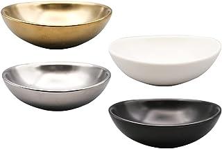 Bestonzon 4Pcs Ceramic Soy Sauce Dish Mini Seasoning Serving Plates Multifunctional Japanese Spice Soy Sushi Seasoning App...