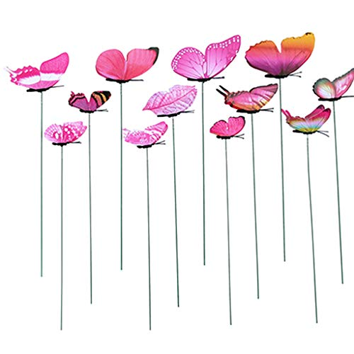 KINTRADE Lot de 12 papillons artificiels décoratifs pour jardin, cour, pelouse, patio, extérieur, couleurs aléatoires, Plastique PVC + fer., rose vif, 9.84in