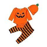 I3CKIZCE Halloween calabaza niña niño ropa pelele bebé mono unisex niño vestido naranja top + sombrero + calcetines / ropa regalo bebé 0-24 m, Pantalones., 3-6 meses …